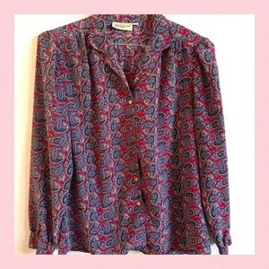 Vintage Nordstrom Town Square Paisley Blouse 12